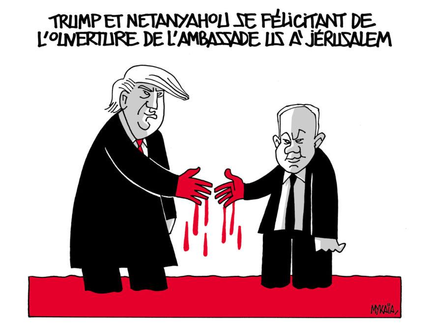 Trump et Netanyahou se félicitant de l'ouverture de l'ambassade US à Jérusalem