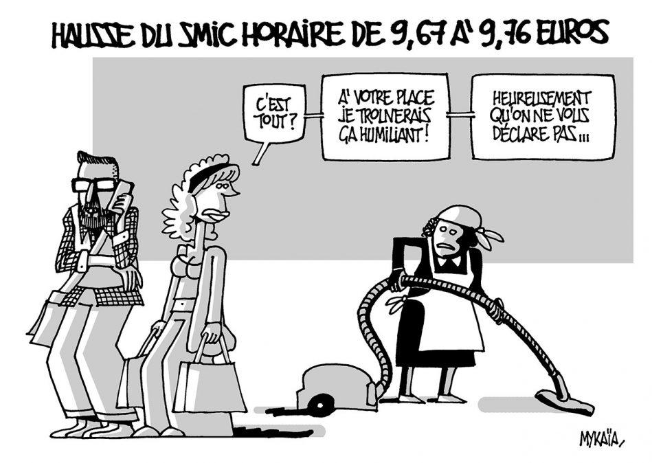 HAUSSE DU SMIC HORAIRE DE 9,67 à 9,76 EUROS